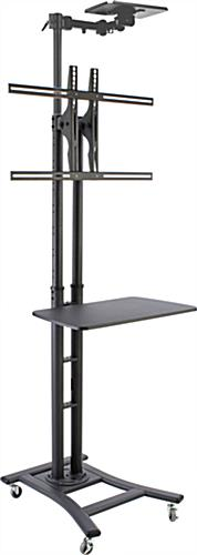 Height Adjustable Black Teleconferencing TV Stand