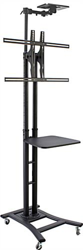 Black Teleconference TV Stand with Shelves
