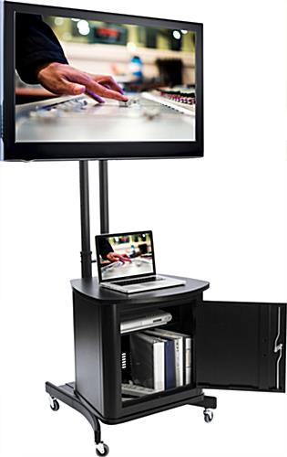 Tv Stand With Locking Cabinet Holds 1 32 To 65 Screen
