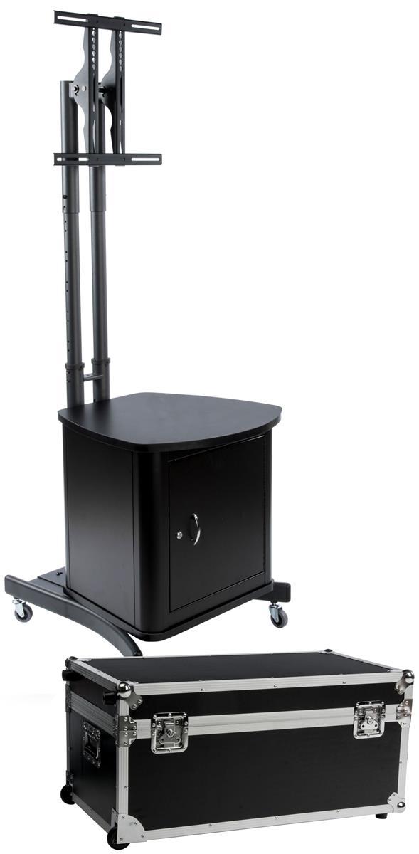 "Displays2go TV Stand w/ Locking Cabinet Fits Monitors 32""..."