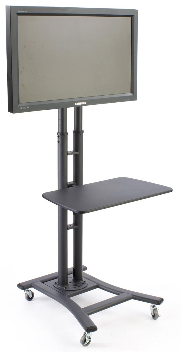 Lcd Tv Stands W 28 Shelf Fits Monitors 32 To 70 Inches Height Adjule Black
