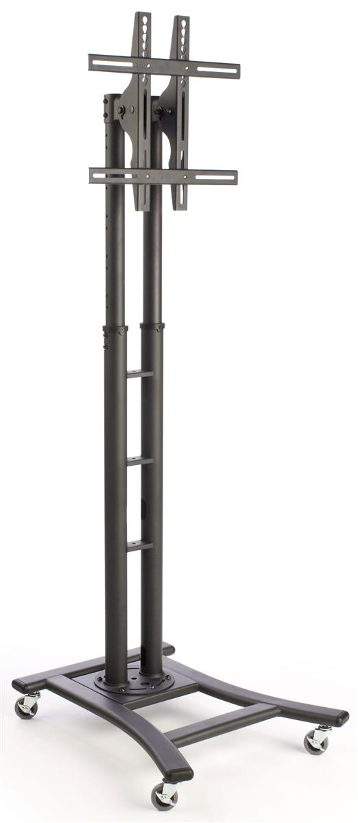 Displays2go Height Adjustable TV Stand with Wheels and Mounting Hardware Kit Black MBCONFSTBK