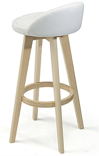 White Leather Barstool with Backrest