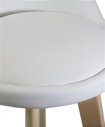 White Leather Barstool with Padded Seat