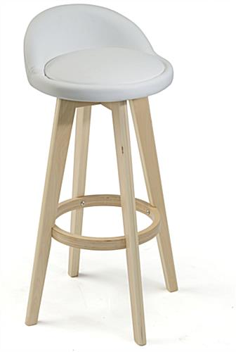 White Leather Barstool with Wooden Frame
