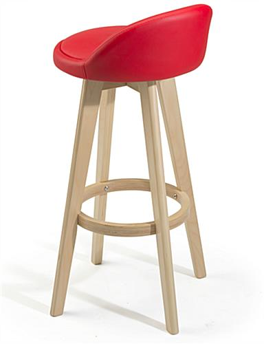 Modern Red Barstool with Wood Base