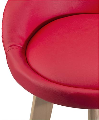 Modern Red Barstool with Padded Seat