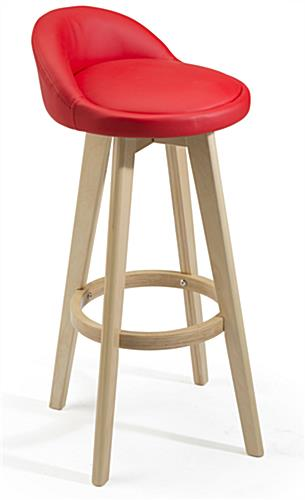 Modern Red Barstool with Curved Back