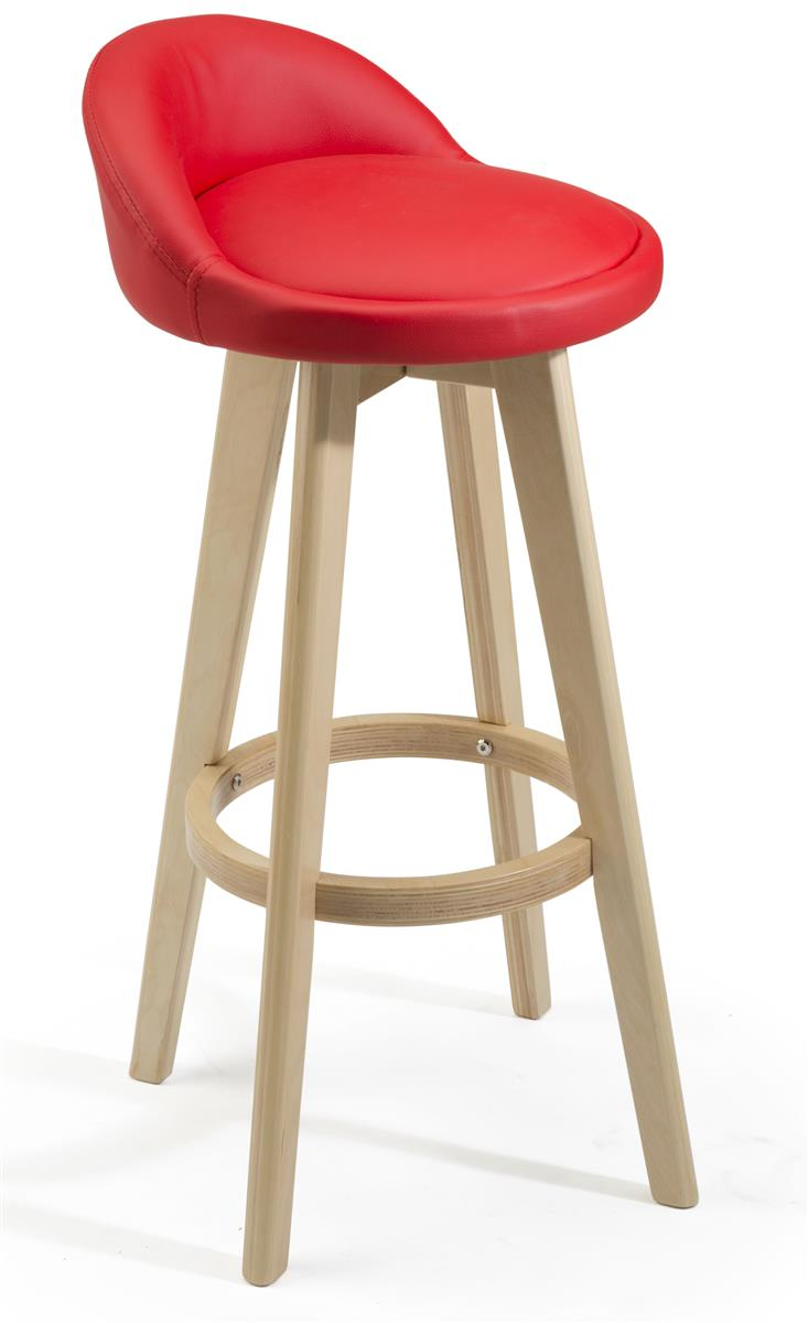 Low Profile Leather Counter Stool Red Natural