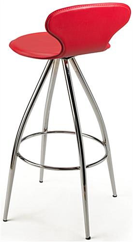 Red Faux Leather Stool with Backrest