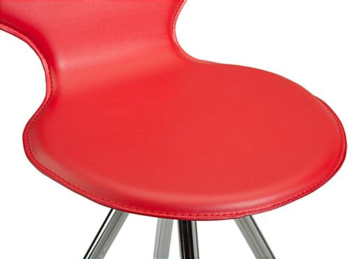 Red Faux Leather Stool with Round Seat