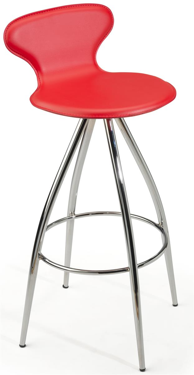 Red Faux Leather Stool Swivel Base