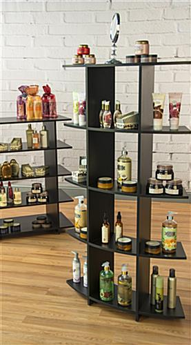 Floor Standing Curved Wooden Shelves