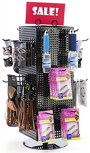 Countertop Pegboard Display with Black Hooks, 4 Inch