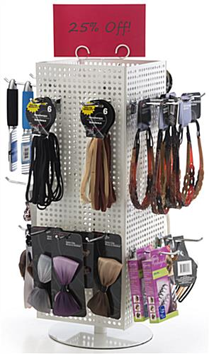 Counter Pegboard Display with Chrome Hooks & Round Base