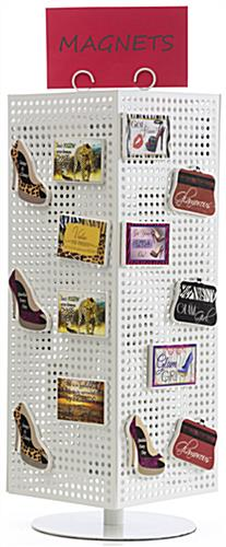 Countertop Pegboard Display with White Hooks - Magnetic