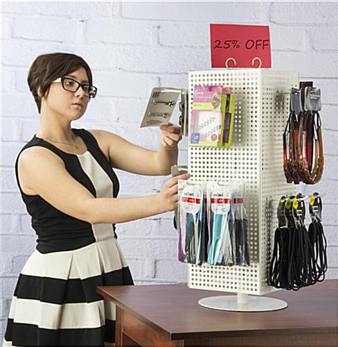 Countertop Pegboard Display with White Hooks, Spinner