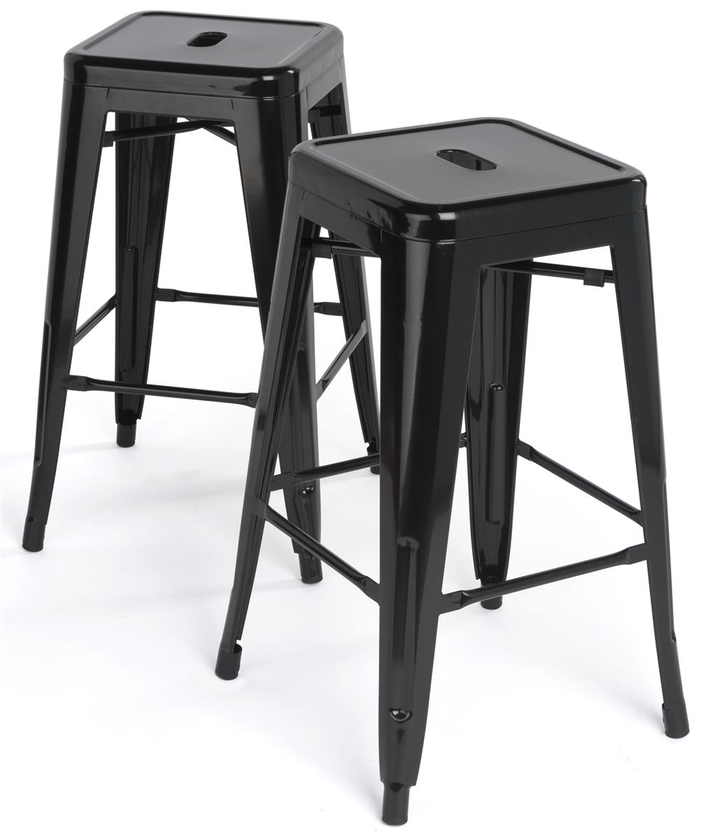 Stacking Metal Stools Black Finish