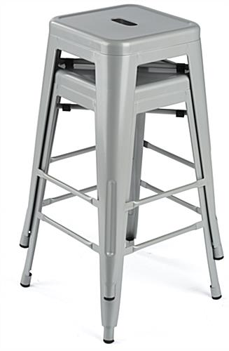 Modern Metal Counter Stools with Footrests