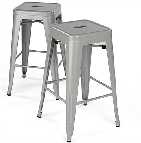 Modern Metal Counter Stools Silver Finish