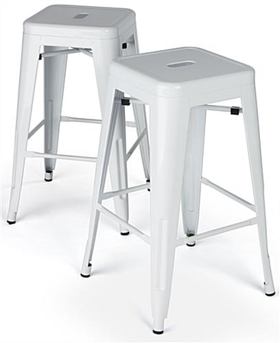 Modern Metal Stools with Square Seats