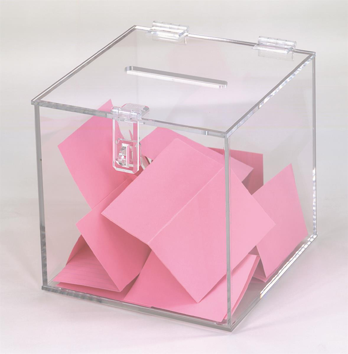 Plastic Ballot Box Clear Hinged Lock Amp Top Slot