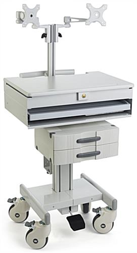 Medical Computer Trolley, Supports 2 Monitors