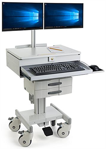 Gray Medical Computer Trolley