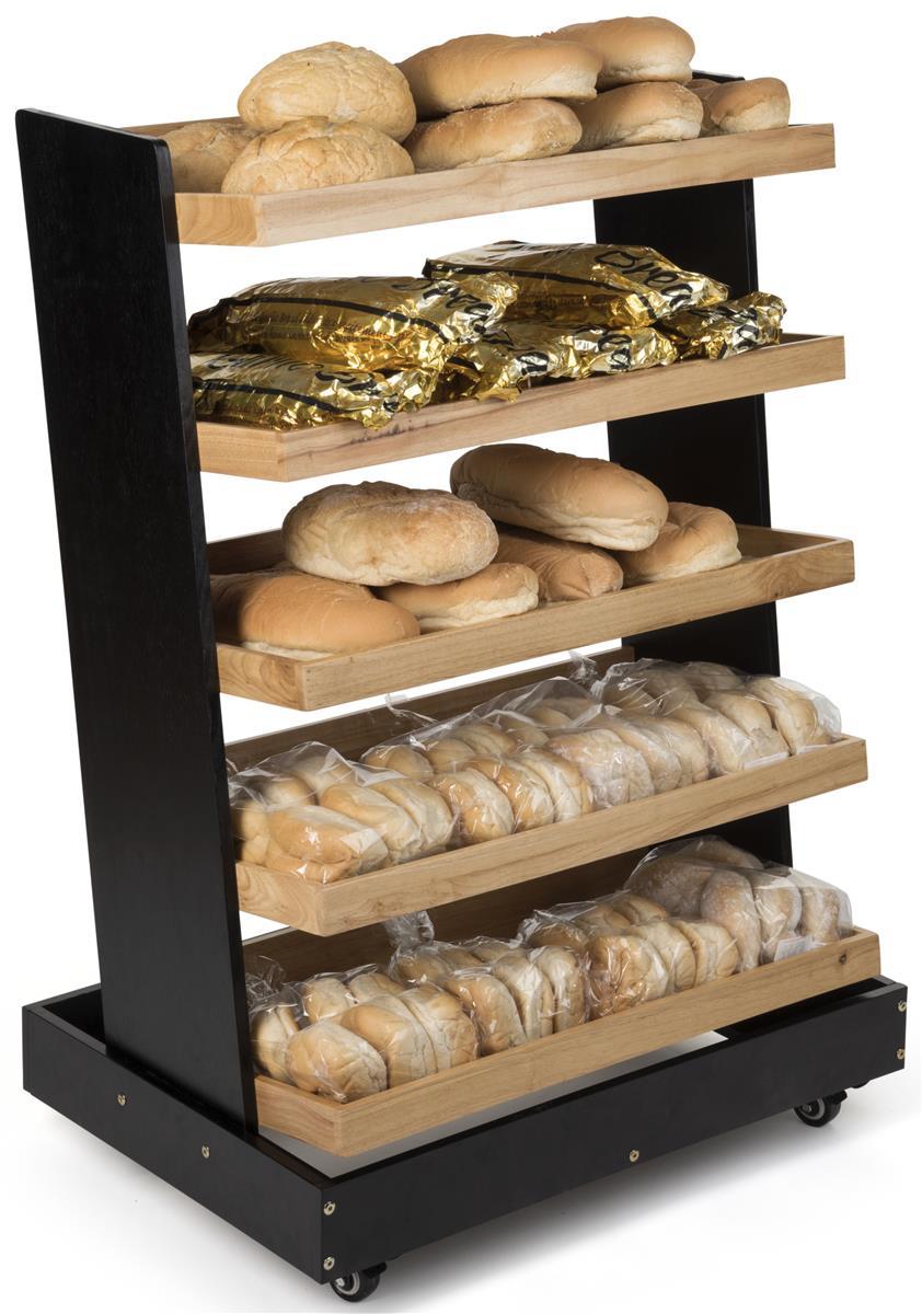 Produce Rack Display Black Frame With Oak Shelves