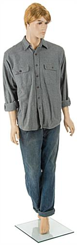 Realistic Male Mannequin with Blonde Hair and Bent Leg, Turned Head