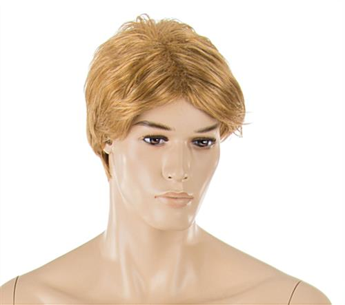 Realistic Male Mannequin with Blonde Hair and Painted Facial Details