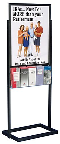 Poster Display Rack: Black Double-Sided w/5 Brochure Holders