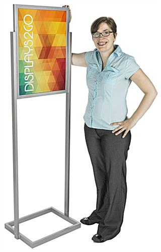 "Silver 18"" x 24"" Poster Display Stand with 2 PVC Non-Glare Lenses"