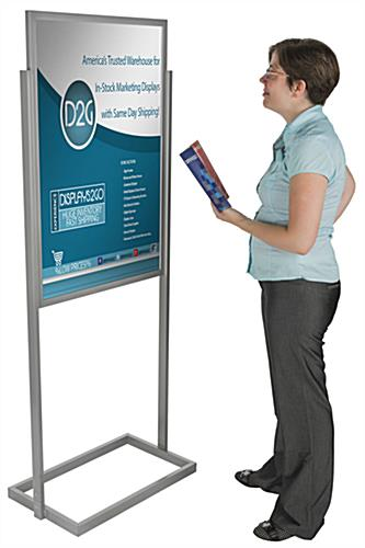 "Silver 24"" x 36"" Metal Poster Stand with Minimal Assembly"