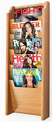 5 Pocket Oak Magazine Rack is Wall Mounting