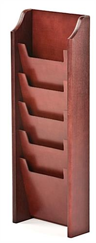 5 Pocket Mahogany Magazine Rack