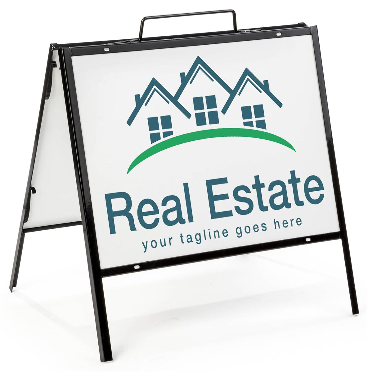 Real Estate: Two Sided Black Sign