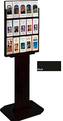 Black Wood Brochure Stand, Freestanding