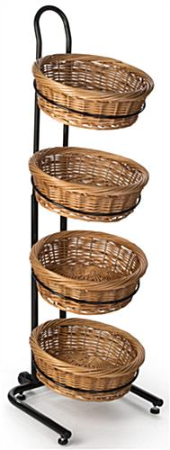Height Adjustable 2 Tier Round Wicker Display Stand