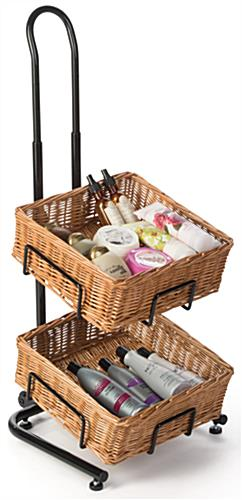 2 Tier Square Basket Stand with Wicker Containers