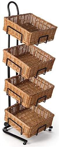 2 Tier Square Basket Stand Built In Wheels