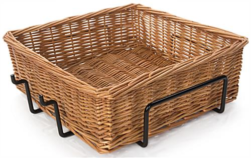 2 Tier Square Basket Stand with Woven Pattern