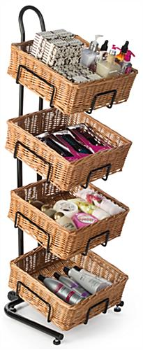 4 Tier Square Basket Stand with Wicker Compartments
