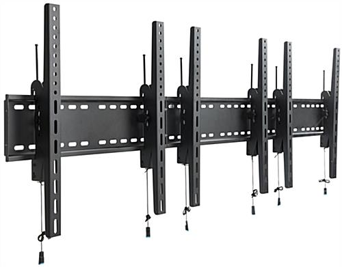 Black 3-Monitor Wall Portrait TV Mount