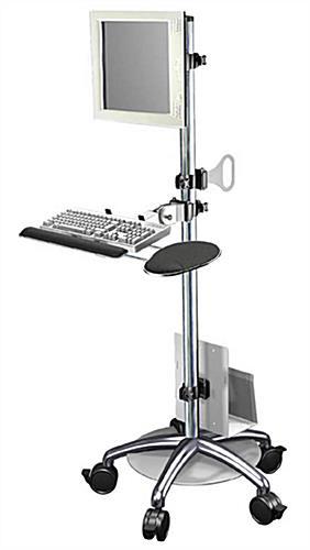 Adjustable Height Computer Cart 1 Flat Panel Mount