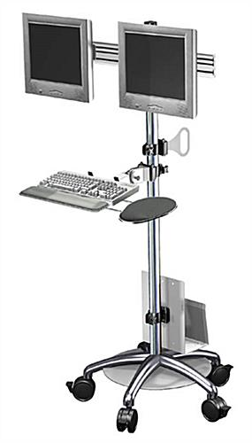 Dual Monitor Sit Stand Workstation 5 Casters For Mobility