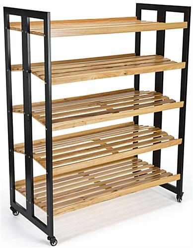 Rolling Wood Shelves without Products