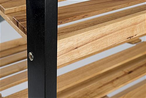 Close-Up of Rolling Wood Shelves