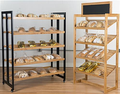 Rolling Wood Shelves in a Grocery Store