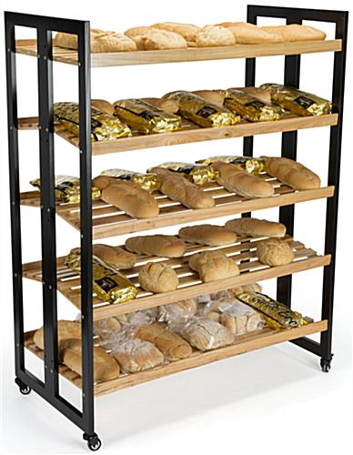 Rolling Wood Shelves Double Sided Rustic Display